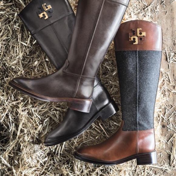 2e88f7141bb Tory Burch Lowell Logo tall riding boots. M 5a5fab93b7f72b65480bc26f